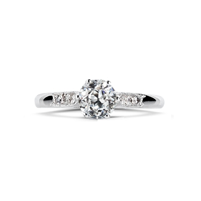 Old Cut Diamond Grain Set Shoulder Engagement Ring