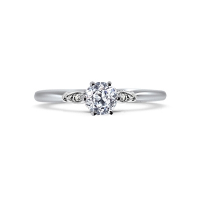 Old Cut Diamond Leaf Shoulder Engagement Ring