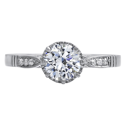 Ophelia - Diamond Set Heart Collet Engagement Ring