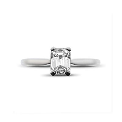 Emerald Cut Claw Set Solitaire 0.71ct D VS2 GIA