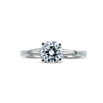 Brilliant Cut Diamond Ring With Tapered Baguette Shoulders 0.45ct F VS1