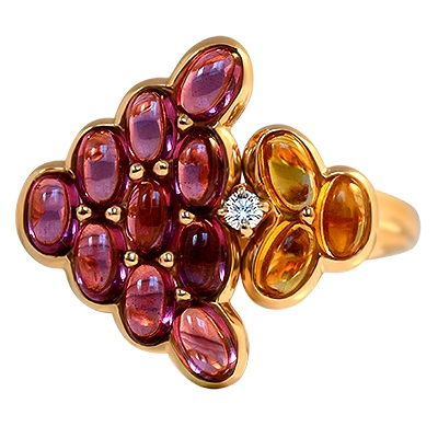 Tourmaline & Citrine Cluster Ring - By Mauboussin, Paris