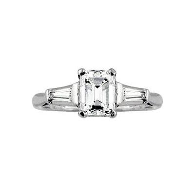 Diamonds Rings   Emerald Cut Diamond Engagement Ring
