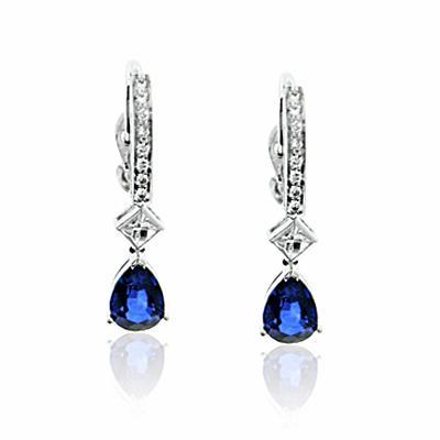 Sapphire Earrings   Sapphire Pear Shape & Diamond Earrings   Sapphire ...