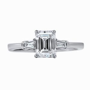 Emerald Cut & Tapered Baguette Engagement Ring 1.00ct - G VS - GIA
