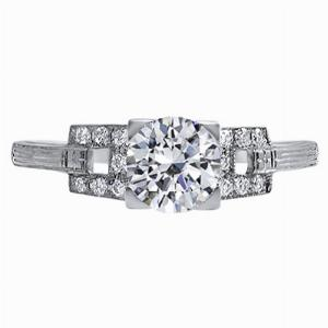 Clarice - Diamond Square Shoulder Engagement Ring