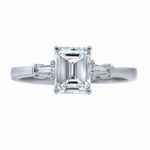 Emerald Cut & Tapered Baguette Engagement Ring 1.20ct - I VS2 - Anchor Cert.