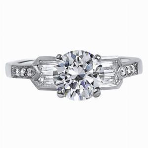 Allete - Double Bullet Vintage Diamond Engagement Ring