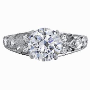 Laverna - Diamond Set Scroll Shoulder Engagement Ring