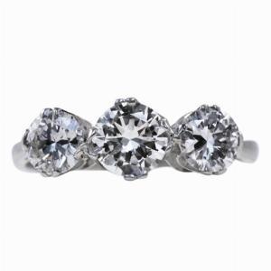 Vintage Three Stone Diamond Engagement Ring - 1.70ct