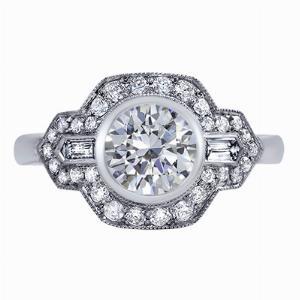 Reine - Rub-Over Set Bullet Diamond Engagement Ring