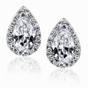 Pear Shape Diamond Stud Earrings - 2.00ct Total
