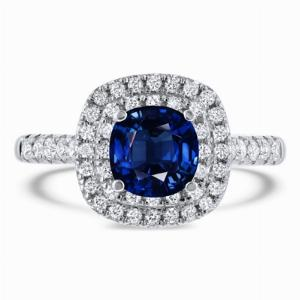 1.70ct Cushion Blue Sapphire Double Micro Halo Ring