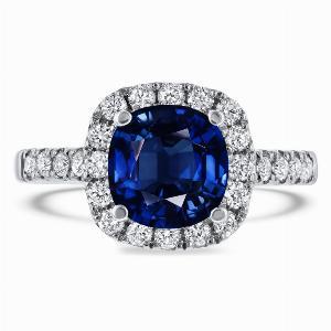 2.50ct Cushion Blue Sapphire Micro Set Diamond Halo Ring