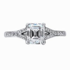 Emerald Cut Split Shoulder Engagement Ring