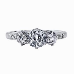 Vintage Old Cut Diamond Three Stone Ring - 2.00ct