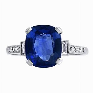 Cushion Sapphire & Baguette Ring - 3.48ct