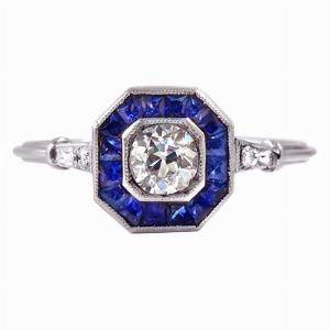 Old Cut Diamond & Sapphire Target Ring - 0.40ct