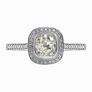 Old Cushion Cut Diamond Cluster Ring - 1.50ct