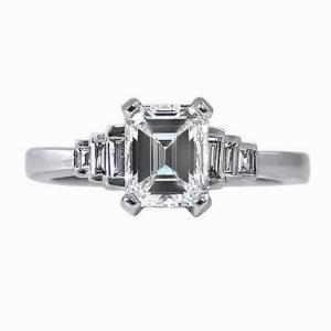 Emerald Cut & Step-Down Baguette Engagement Ring 1.14ct - H VS2 - Anchor