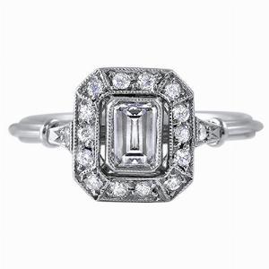 Emerald Cut Diamond Cluster Ring - 0.45ct