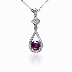 Round Pink Sapphire and Diamond Drop Pendant 1.13ct