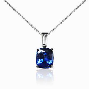 Sapphire & Diamond Cushion Cut Pendant 1.82ct