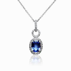 Sapphire & Diamond Oval Pendant 1.75ct