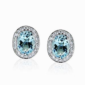 Aquamarine & Brilliant Cut Diamond Stud Earrings 2.34ct