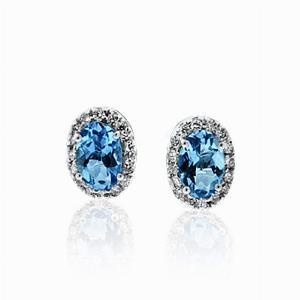 Aquamarine & Brilliant Cut Diamond Studs 0.81ct