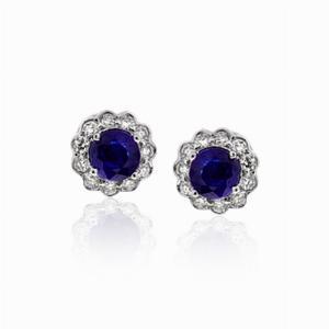 Sapphire & Diamond Cluster Studs