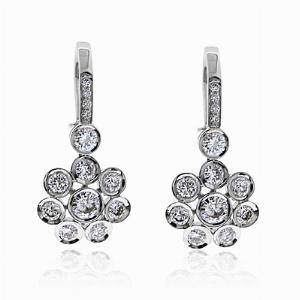 Brilliant Cut Diamond Flower Cluster Drop Earrings 1.31ct