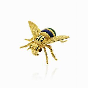 Enamel & Gold Set Bee Brooch