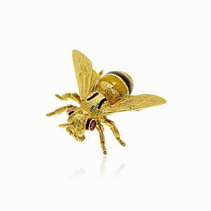 Enamel & 18kt Gold Set Bee Brooch Pin