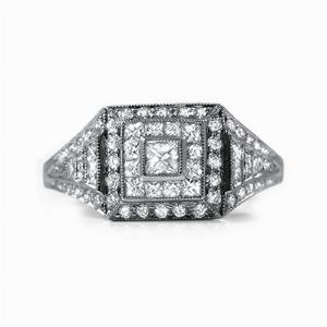 French Cut & Brilliant Cut Diamond Dress Ring - 0.93ct