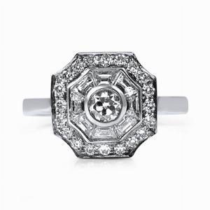Old & Trapeze Cut Diamond Platinum Dress Ring - 0.98ct