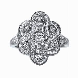 Old & French Cut Diamond Platinum Dress Ring - 0.95ct
