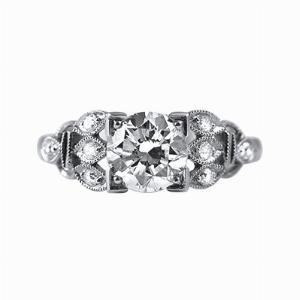 Ornate Platinum Diamond Dress Ring - 1.28ct - HSI1