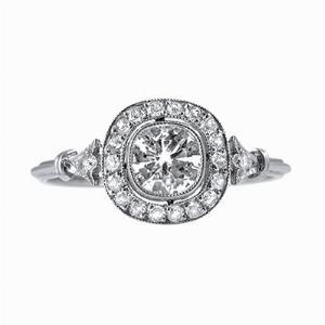 Vintage Cushion Cut Diamond Cluster Ring - 0.70ct