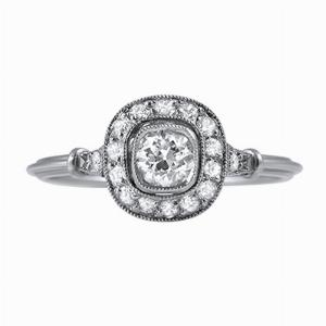 Cushion Cut Diamond Cluster Ring - 0.45ct