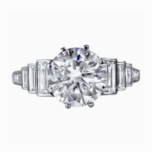 Brilliant Cut And Baguette Cut Diamond Engagement Ring - 2.78ct