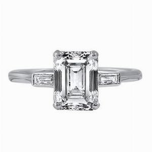 2.47ct Art Deco Emerald Cut Diamond Engagement Ring