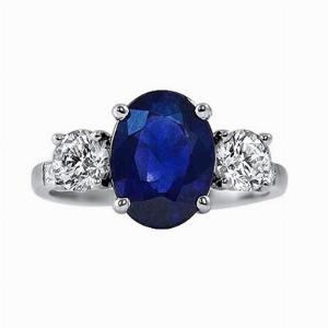 2.92ct Sapphire Three Stone Diamond Engagement Ring