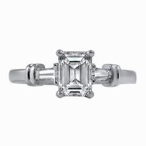 Emerald Cut & Tapered Baguette Engagement Ring 1.25ct - H VS1 - Anchor