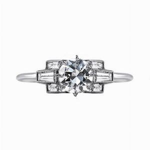 Ornate Transitional Cut Diamond Ring - 0.48ct Approx