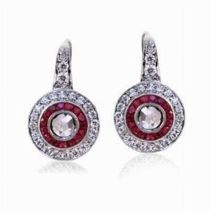 Rose Cut Diamond and Ruby Target Earrings