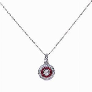 Rose Cut Diamond and Ruby Target Pendant