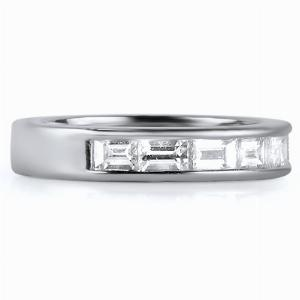 MILANO Channel Set Baguette Cut Half Commitment Rings