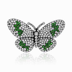 Green Garnet & Diamond Butterfly Brooch