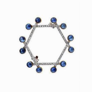 Sapphire Cabochon & Rose Cut Diamond Brooch